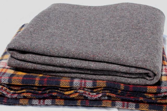 Vintage Grey Amp Plaid Wool Camp Blanket Lot Rustic
