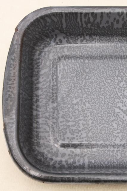 vintage grey spatterware graniteware enamel, old enamelware baking roasting pan tray
