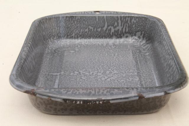 Vintage Grey Spatterware Graniteware Enamel Old