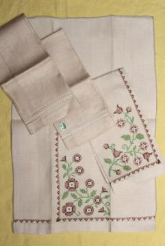 vintage guest towels, fingertip hand towel embroidered cotton / linen for powder room