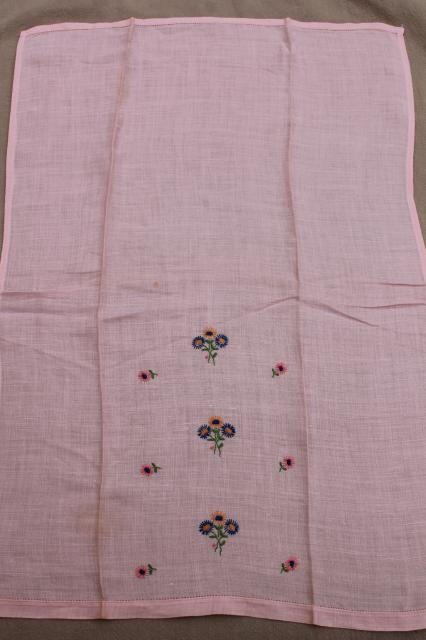 vintage guest towels, handkerchief linen & fine cotton w/ embroidery, madeira applique