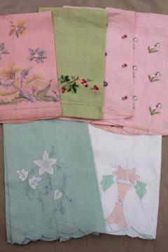 vintage guest towels, handkerchief linen & fine cotton w/ embroidery, madeira applique