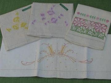 vintage guest towels w/ madeira embroidery and labels, linen towel lot