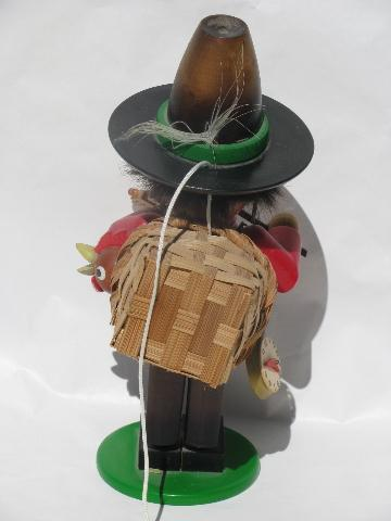 vintage gypsy baron wooden Steinbach smoker, wood figure w/ music box