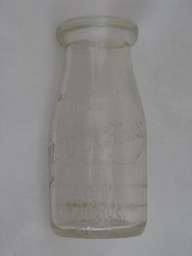 vintage half-pint glass milk bottle, old Producers Dairy advertising, Elgin Illinois