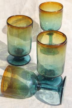 vintage hand blown Mexican glass goblets, blue to golden amber shaded glass
