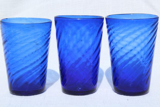Vintage Hand Blown Mexican Glass Tumblers Cobalt Blue