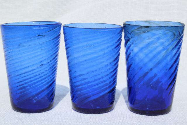 vintage hand blown mexican glass tumblers cobalt blue swirl drinking glasses   retro