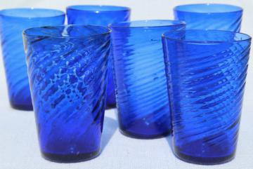 vintage hand blown Mexican glass tumblers, cobalt blue swirl drinking glasses, 70s 80s retro
