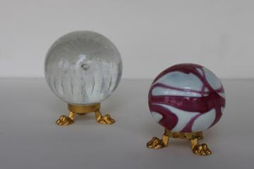 vintage hand blown art glass paperweights on gold metal stands made in Italy