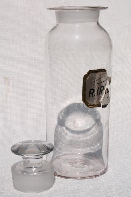 vintage hand blown glass bottle, large antique pharmacy jar from chemist's apothecary