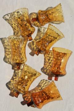 vintage hand blown glass candle cups, amber glass votive glasses for sconces or candle holders