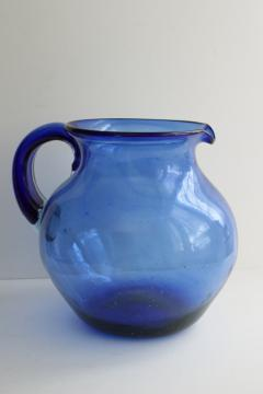 vintage hand blown glass pitcher, cobalt blue Mexican glass large jug