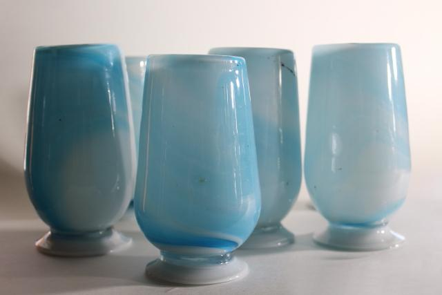 vintage hand blown glass tumblers, blue & white swirl slag glass vases or drinking glasses