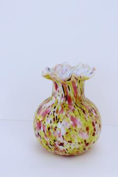 vintage hand blown splatter glass vase, confetti pink & yellow white cased glass