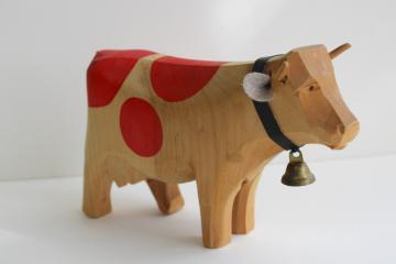 vintage hand carved wood cow made in Switzerland, spotted Brown Swiss toy figure