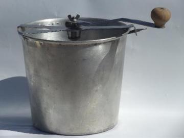 vintage hand crank dough mixer bread maker, kneading and rising bucket