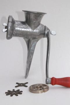 vintage hand crank food chopper meat grinder, Master-Brac kitchen tool w/ blades