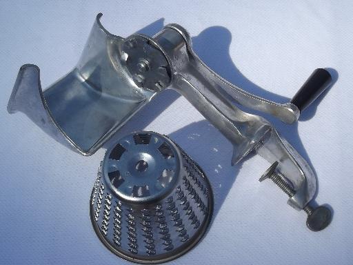 vintage hand crank salad maker, slicer shredder grater cone blades