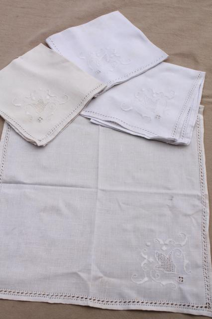 Vintage Hand Embroidered Linen Cotton Table Linens