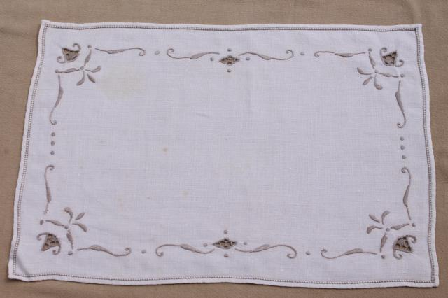 Vintage Hand Embroidered Linen Cotton Table Linens, Napkins, Placemats,  Card Table Cloth