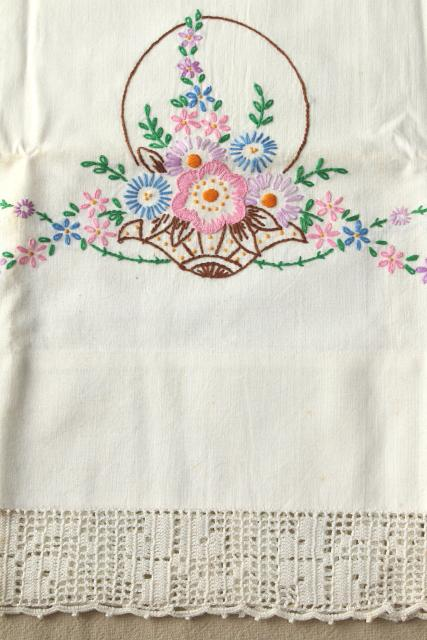 vintage hand embroidered pillowcases w/ crochet lace edgings, shabby cottage style bedding lot