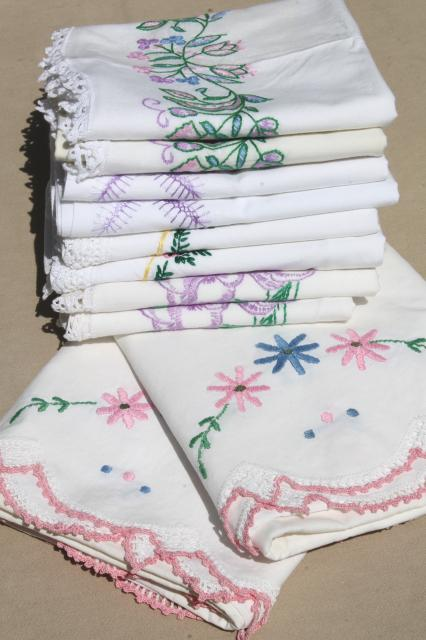 Vintage Hand Embroidered Pillowcases W Crochet Lace