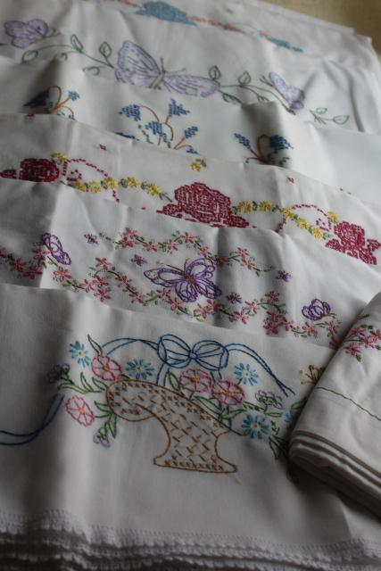vintage hand embroidered pillowcases, poly blend bed linens nice for crafts or upcycling