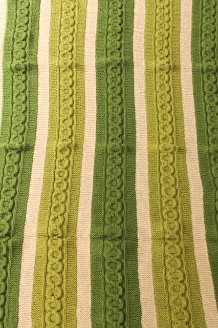 Vintage Hand Knit Wool Blanket Knitted Afghan Aran Cables Striped