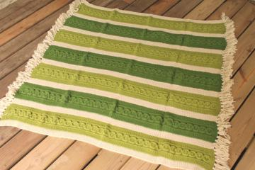 vintage hand knit wool blanket, knitted afghan aran cables, striped in cream & irish green