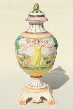 vintage hand painted Italian ceramic urn, 1930s lady in Elysian fields w/ cherubs!