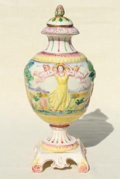 vintage hand painted Italian ceramic urn, 1930s lady in Elysian fields w/ cherubs!