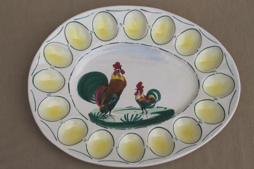 vintage hand painted Italian cermaic egg plate w/ roosters, deviled egg serving tray