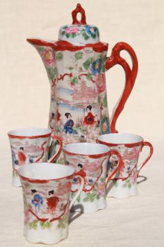 vintage hand painted Japan Geisha girl china, porcelain chocolate pot & cups set