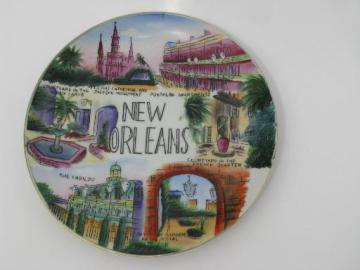 vintage hand painted Japan china plate, New Orleans souvenir landmarks