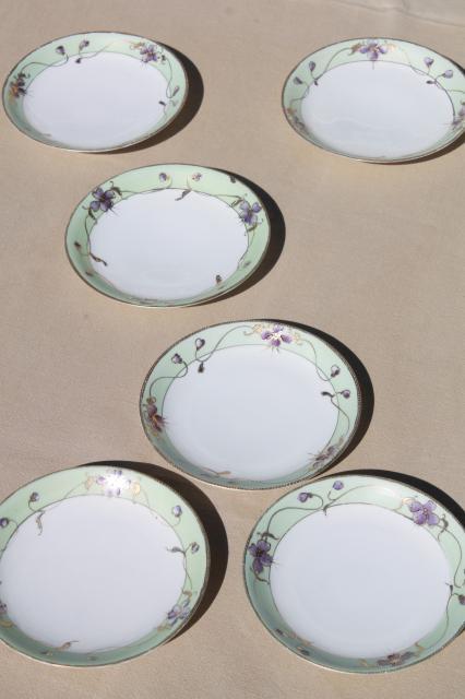 vintage hand painted Japan china plates w/ violet flowers Nippon gold moriage porcelain & vintage hand painted Japan china plates w/ violet flowers Nippon ...