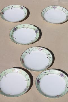 vintage hand painted Japan china plates w/ violet flowers, Nippon gold moriage porcelain