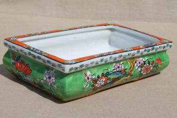 vintage hand painted Japan pottery planter, rectangular dish for rock garden, bonsai, flowers