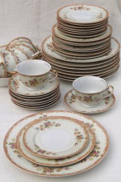 vintage hand painted Made in Japan Esco fine china dinnerware, service for 8