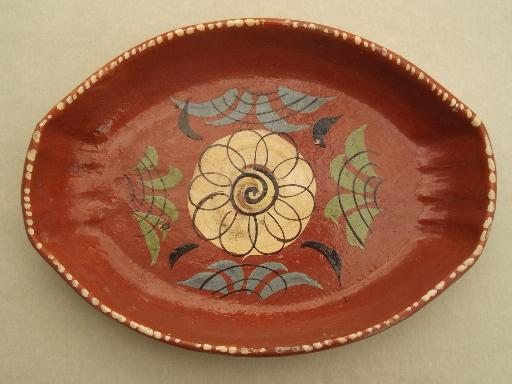 Vintage Hand Painted Mexican Pottery Terracotta Trays Or