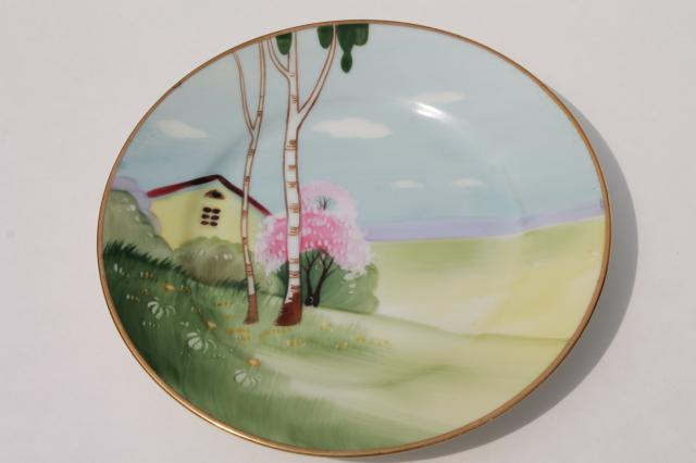 vintage hand painted Nippon porcelain plate w/ tree & cottage scene ...