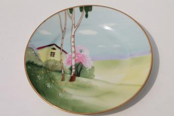 vintage hand painted Nippon porcelain plate w/ tree & cottage scene, cottageware china