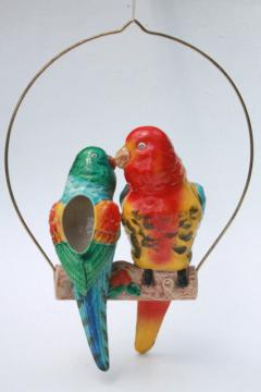vintage hand painted ceramic pair of parrots hanging planter pot, love birds on swing