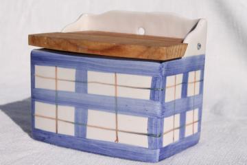vintage hand painted ceramic salt box, blue & white plaid Alcobaca Portugal pottery