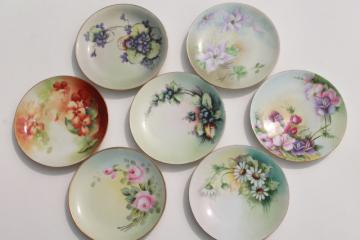 vintage hand painted china dessert plates, fruit & flowers decorative plate collection