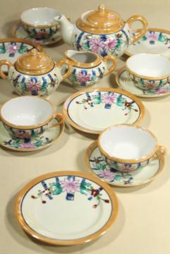 vintage hand painted china doll dishes, made in Japan porcelain tea party set child's size