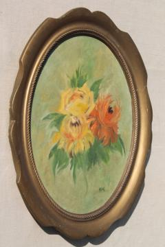 vintage hand painted floral still life, oval painting in frame, bohemian art bright flowers