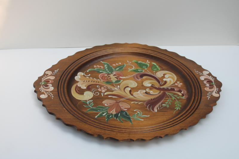 vintage hand painted folk art tole painting style wood tray plate, artist signed