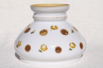 vintage hand painted glass lampshade, milk glass cut to clear amber yellow