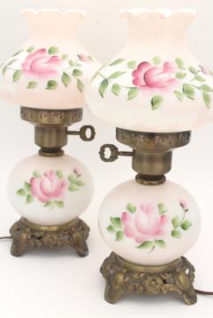 vintage hand painted milk glass lamps, pair little pink GWTW lamps w/ light up bases